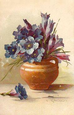 К. Кляйн. 162. Синие цветы в кувшинчике.
