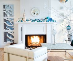 love this mantle for christmas only change the colors