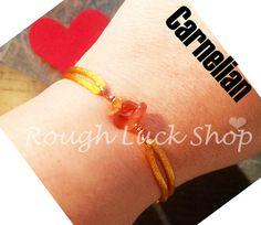 Carnelian Bracelet Wire Wrapped Copper Button by ROUGHLUCKSHOP