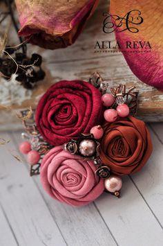 """Купить Брошь """"Роза Марокко"""" - комбинированный, брошь, броши, юброшь цветок, цветы из ткани"""