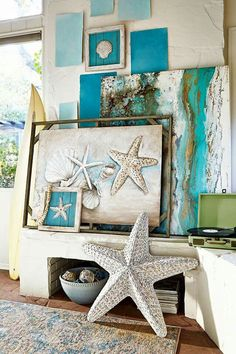 Starfish love -- sooo love all the teal/ turquoise colors here.  #BarbsBeachHouseDecor