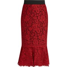 Dolce & Gabbana Cordonetto-lace fluted-hem pencil skirt ($1,975) ❤ liked on Polyvore featuring skirts, red, red knee length pencil skirt, lace skirt, elastic waist pencil skirt, elastic waist skirt and lacy skirt