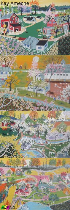 Four colourful works by artist Kay Ameche that are available on ArtFIND.ca.  They are titled from top to bottom as follows:  Country Paradise, Day on the Farm, Apple Blossom Glory and Springtime in Gettysburg.