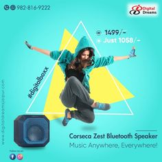 Corseca Zest Bluetooth Speaker is a portable speaker with excellent audio quality. It has a versatile 5 in one connectivity with Bluetooth,… Portable Speakers, Bluetooth, Audio, Digital, Instagram