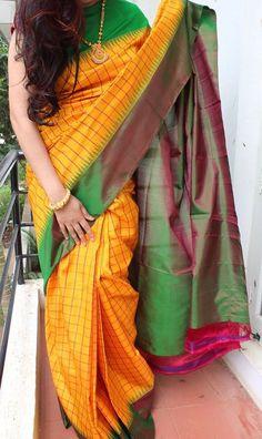 Combination of Yellow, Pink & Green Checks Gadwal Silk Saree – EthniQ