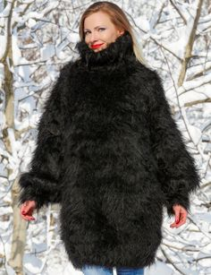 Thick black fuzzy mohair sweater handmade fluffy warm soft dress SUPERTANYA SALE in Clothing, Shoes & Accessories, Women's Clothing, Sweaters   eBay