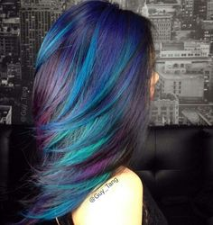 blue green purple highlights                                                                                                                                                      More