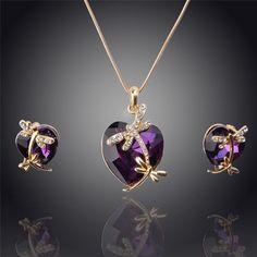 Gemstone Dragonfly Heart Jewelry Set