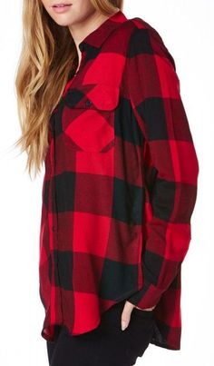 Timber Buttondown Top in Red