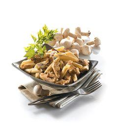 Penne sauce crémeuse, volaille et champignon