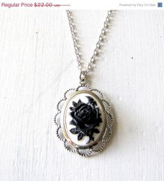 Gothic Black Rose Cameo Necklace Gothic Necklace Gothic Jewelry Victorian Jewelry Victorian Cameo Victorian Necklace Blac