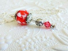 Red Lampwork Pendant with Swarovski Crystal by uBuNEEKBoutique