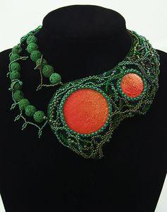 Heavy Duty Gaia - freeform bead embroidery necklace