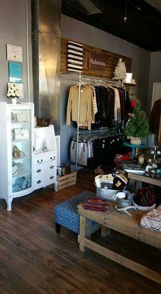 Sweet Treasures Resale new location. Designed & remodeled by Trina & Chris Torres. Rustic Industrial Glam design. Retail design. Boutique, Resale shop.