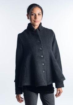 Rundholz Black Label Fuzzy Short Wool Coat in Black | Santa Fe Dry Goods