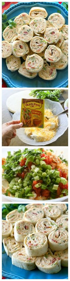 These Chicken Enchilada Roll Ups are a great appetizer for parties! Easy to make ahead and easy to serve. the-girl-who-ate-...