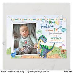 Photo Dinosaur birthday invitation Dino-mite party Dinosaur First Birthday, 1st Boy Birthday, Birthday Gifts, First Birthday Invitation Cards, Shower Invitations, Invite, Dinosaur Party Supplies, Caleb, Dinosaur Birthday Invitations
