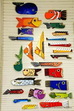 Wood Fish Art Painted Orange and Yellow Handmade in by TaylorArts