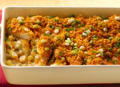 Buffalo Chicken and Potatoes.  Ranch dressing and cream of celery soup offsets the spice from buffalo wing sauce in a satisfying, meat-and-potatoes casserole