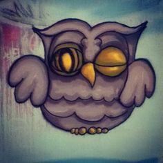 Owl Street Art in Canton, Cardiff.