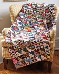 Designer Susan McDermott made triangle-squares in four sizes and combined them in a variety of ways to make 6″ blocks for this stunning scrap quilt. Our diagrams show you how to arrange the blocks to achieve the same result. About This Quilt Finished Size: 90″ x 90″ Finished Blocks: 225 (6″) blocks Rating: Intermediate Designed…