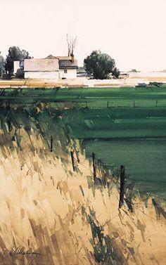 Green - vaerde - landscape - Fence Line by Joseph Alleman Watercolor ~ x Watercolor Artists, Watercolor Landscape, Abstract Landscape, Watercolour Painting, Painting & Drawing, Landscape Paintings, Watercolors, Watercolor Trees, Watercolor Portraits