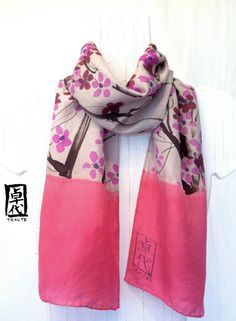 Hand painted silk scarf Pink silk scarf Fall by SilkScarvesTakuyo, $38.00