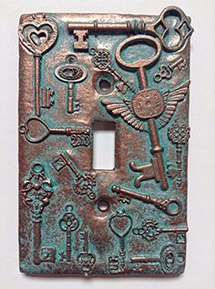 Keys (Steampunk) Stone/Copper/Patina Light Switch Cover (Custom) (Copper/Patina) >>> To view further for this item, visit the image link. (This is an affiliate link and I receive a commission for the sales) Steampunk Home Decor, Steampunk Theme, Steampunk Crafts, Steampunk House, Steampunk Gears, Switch Plate Covers, Light Switch Covers, Switch Plates, Stone Texture
