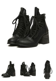 95755407407 Black Chunky Lace Up Ankle Boots Lace Up Ankle Boots