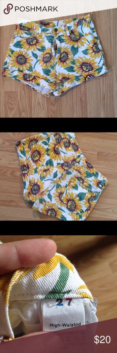 """Sunflower Patterned Denim Shorts Zipper is 5"""", inseam is 2"""", and waist is 15"""" laid flat American Apparel Shorts"""
