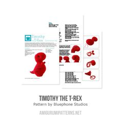Timothy the T-rex  amigurumi pattern by Bluephone Studios