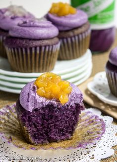 Ube Macapuno Cupcakes Recipe - so pretty with color contract of purple and yellow..nice for Mardi Gras or anytime.