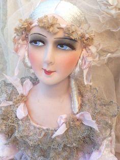 Rare antique french boudoir doll. paris c.1920 silk. edwardian.fashion doll