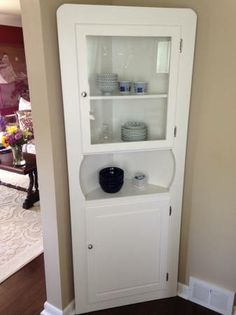 5 Shelf Tall White Corner Cabinet - $75 (Plymouth)