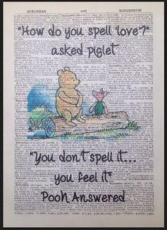 Winnie The Pooh Spruch Vintage Wörterbuch Seite Druck Bild Kunst Disorganised