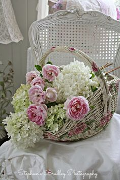 04-22-2016 pink peonies and white hydrangea in pink flower painted wicker basket. ❤Shabby Chic
