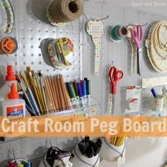 Spool and Spoon: Craft Room Organization: Peg Board - making templates for each item
