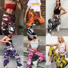 Details about Womens Camo Cargo Trousers Casual Pants Military Army Combat Camouflage Pant LOT Womens Camo Cargo Trousers Casual Pants Military Army Combat Camouflage Jeans [. Teenage Outfits, Teen Fashion Outfits, Fashion Pants, Outfits For Teens, Summer Outfits, Girl Outfits, Fashion Women, Style Fashion, Hip Hop Dance Outfits