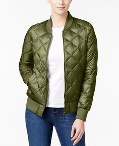 e59132ca 32 Degrees Quilted Packable Bomber Jacket Green Puffer Jacket, Black Bomber  Jacket, Puffer Jackets