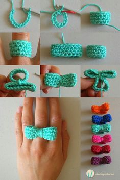 Crochet bow ring, free pattern, video tutorial and photo tutorial, written instructions video tutorial instrucciones escritas Crochet Diy, Crochet Rings, Crochet Crafts, Crochet Projects, Crochet Necklace, Crochet Chain, Blog Crochet, Crochet Jewellery, Crochet Mignon