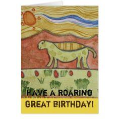 Roaring Great Happy Birthday Card - birthday gifts party celebration custom gift ideas diy