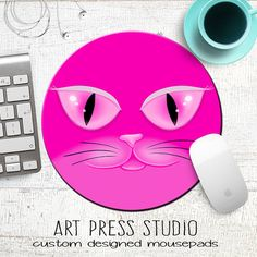 Pink Pussycat Mouse Pad Woman's March Mousepad by ArtPressStudio