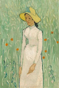 Girl in White (also known as Young Girl Standing Against a Background of Wheat and Woman in a Cornfield) was painted by Vincent van Gogh in 1890 in Auvers-sur-Oise, France, during the last months of his life. Art Van, Van Gogh Art, Van Gogh Pinturas, Vincent Van Gogh, Dutch Artists, Famous Artists, Desenhos Van Gogh, Kunst Online, Van Gogh Paintings