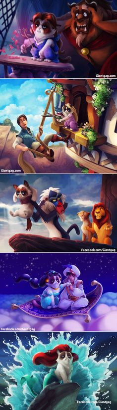 Funny pictures of the day (103 pics) - Grumpy Cat Meets Disney