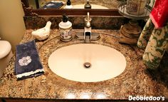 giani bathroom counter top- do it yourself faux granite...totally doing this