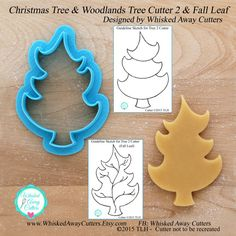 Christmas Tree & Woodlands Tree 2 Cookie Cutter and Fondant Cutter Designed By Whisked Away Cutters - **Guideline Sketches to Print Below**