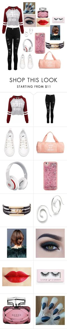 """""""Casual coffee date with besties"""" by jbelieber14 on Polyvore featuring WithChic, Dorothy Perkins, ban.do, Beats by Dr. Dre, Urban Outfitters, Too Faced Cosmetics, Boohoo, Gucci, ditchtheheels and welcomecomfort"""