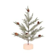 Flocked Pine Tree ($14) ❤ liked on Polyvore featuring home, home decor, holiday decorations, dark green, rustic home decor, holiday home decor, pine cone home decor and holiday decor