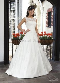 Wholesale No Risk Shopping Beteau Lace White Court Train Simple A-line Lace Bridal Gowns Wedding Dresses w154, Free shipping, $132.16-143.36/Piece | DHgate