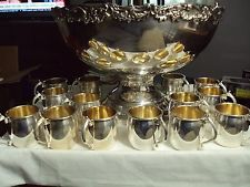 """FB Rogers Silver Plate Punch Bowl and 14 Cups Set - """"1883"""" Stamped On Bottom"""